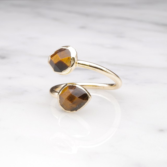 DOUBLE STONE OPEN RING GOLD 049