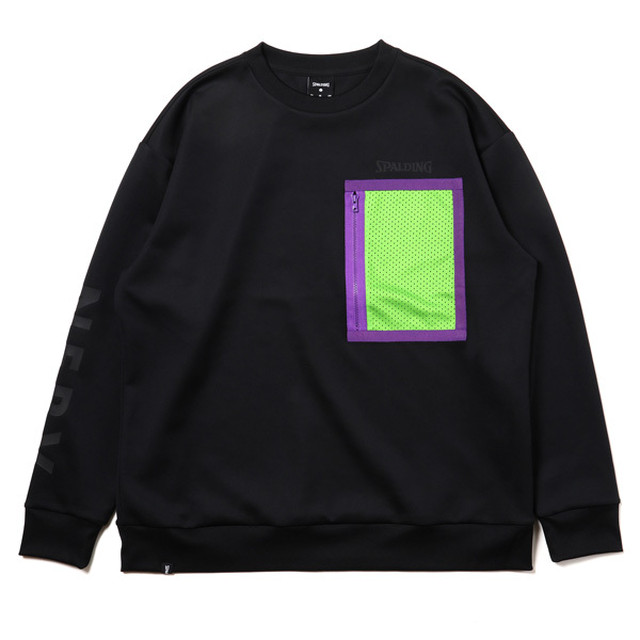 RADIO EVA 719 NERV Sweat Shirts by SPALDING Black x Green / EVANGELION エヴァンゲリオン