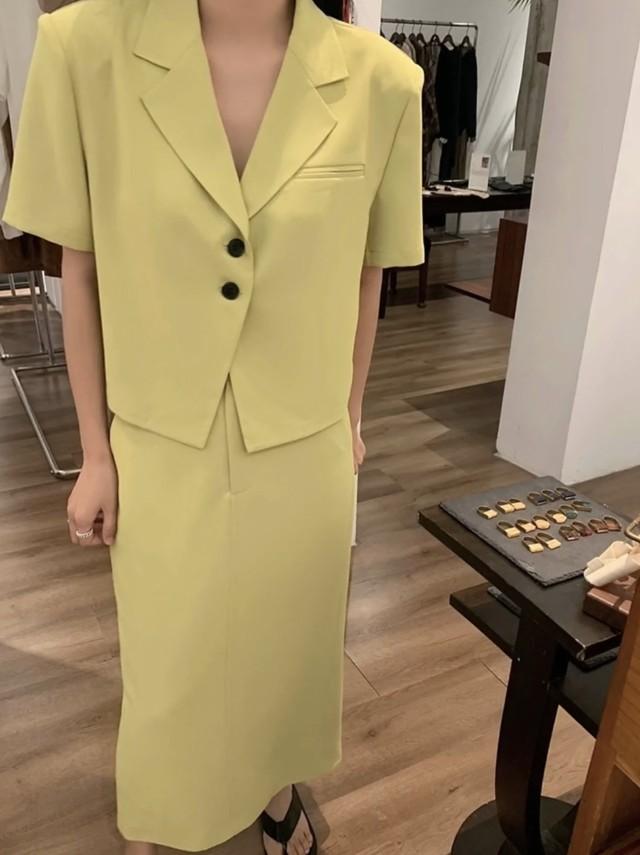 シングルブレスト半袖ジャケット&スカートセットアップ 3色展開