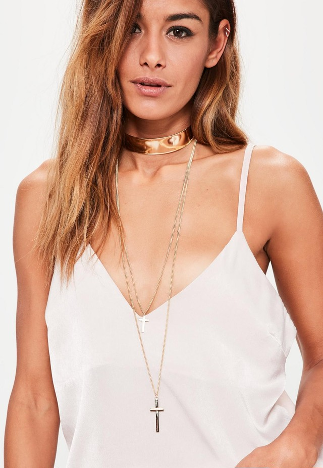 MISSGUIDED Gold Thick Bar Hanging Chain Choker Necklace 10SE008-17