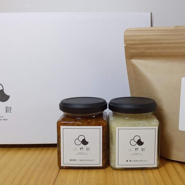 かわいい箱入り!天然醸造田舎味噌と糀調味料セット