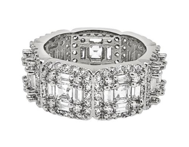 EXOTIC BAGUETTE PRINCESS ETERNITY BAND RHODIUM CZ RING