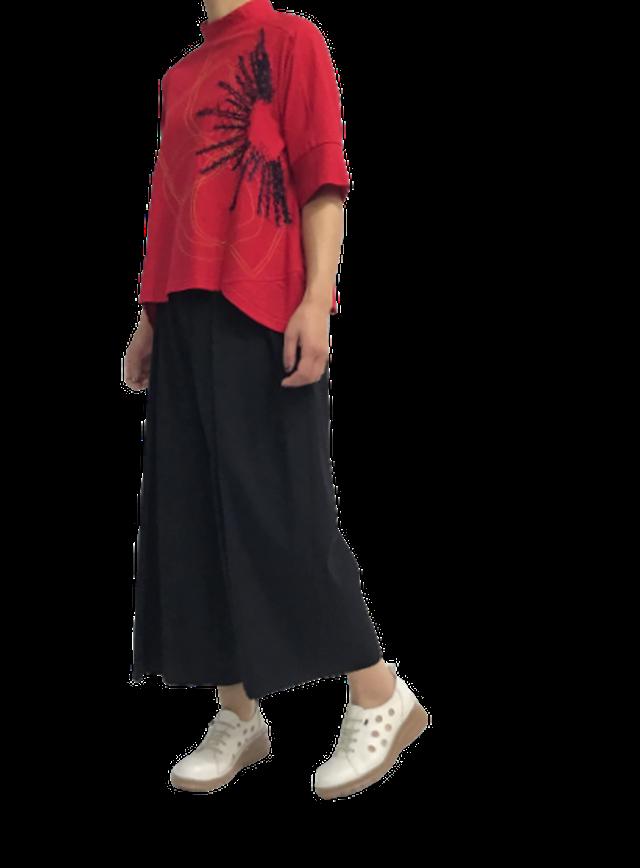 【50%OFF】フラワー刺繍ボックスカットTシャツ【212-3214】