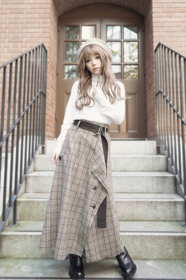 Tweed Hem Check Skirt (Grey)