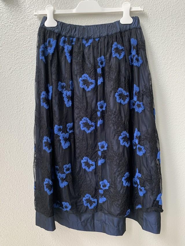 【WHYCI MILANO】花刺繍チュールスカート(040-197)