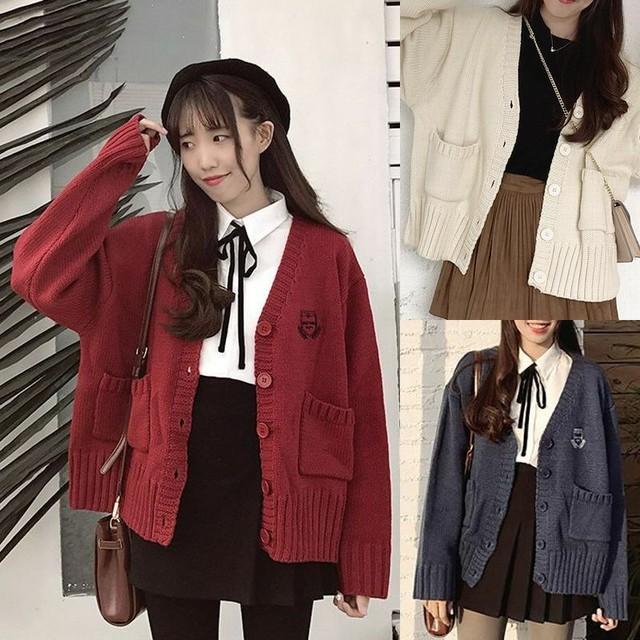 レディース カーディガン ニットカーディガン ニットカーデ 無地 シンプル 厚手 大人カジュアル 韓国 韓国ファッション / Knit cardigan college style super fire cec jacket (DTC-573655301440)