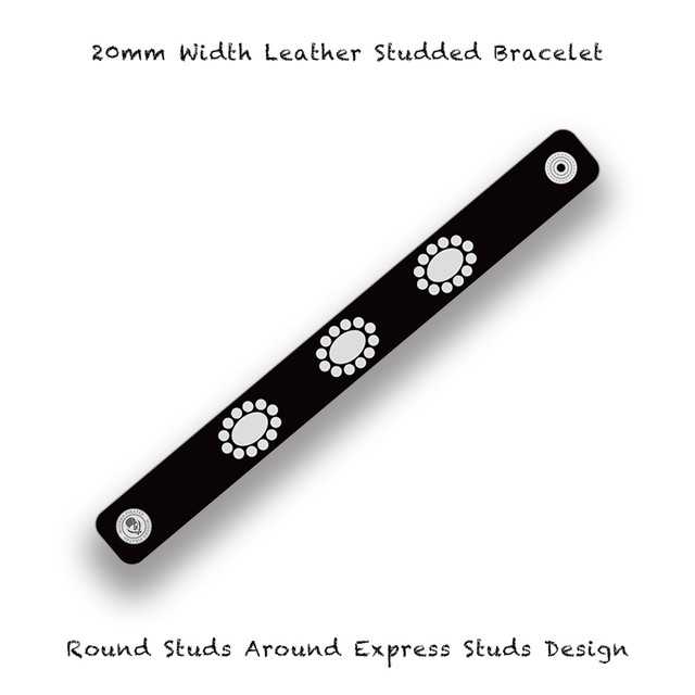 20mm Width Leather Studded Bracelet / Round Studs Around Express Studs Design 002