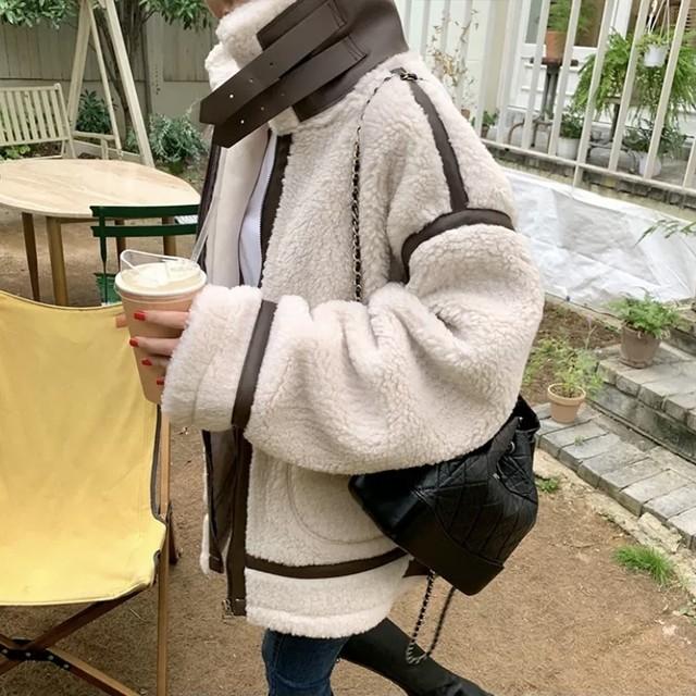 レトロ シンプル ボア素材 ジャケット ワンカラー B5089【11/30まで30%OFF!!】