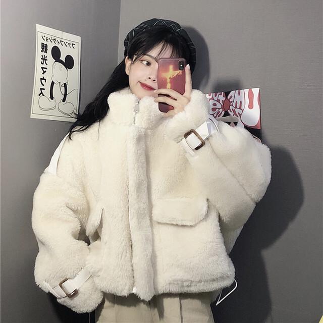 【アウター】ファッション長袖無地スタンドネックジッパーコート25970050