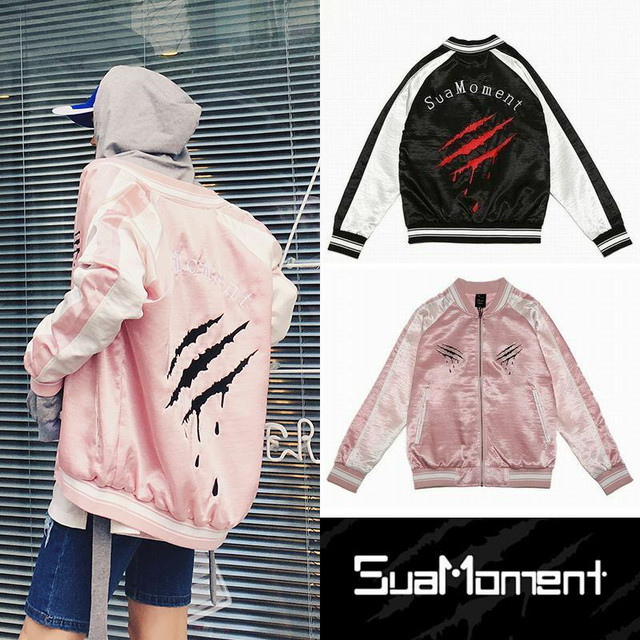 SUAMOMENT メンズ/レディース ユニセックス スカジャン 爪痕 / Sua Scratch Embroidery Generation Crow Coat Jacket SuaMoment (DCT-577668183401