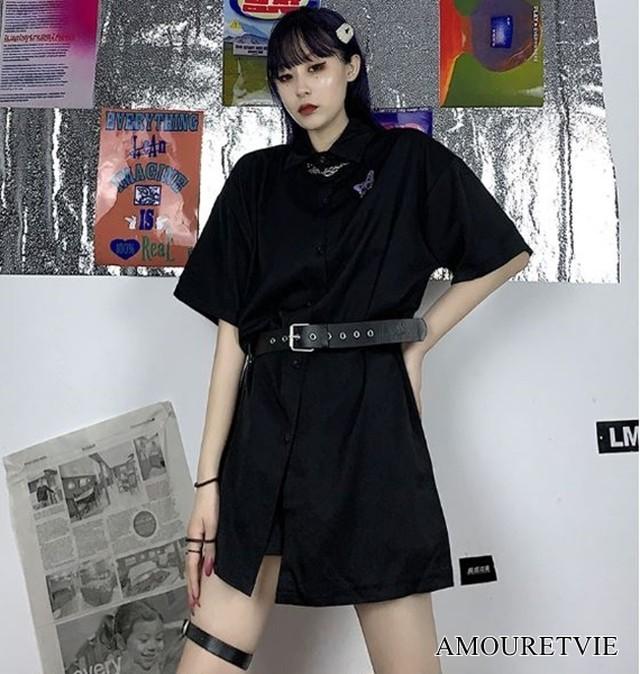 ロングシャツ ベルト付き 黒 ブラック カジュアル シック スタイリッシュ ストリート ピープス オルチャン 韓国ファッショ 1479