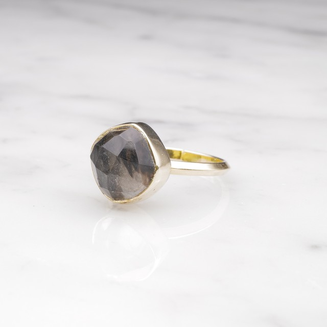 SINGLE SQUARE STONE RING GOLD 004