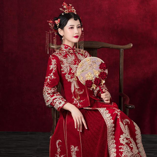 チャイナ風ウエディングドレス 結婚式ワンピース XS~4L レッド 赤い 長袖 刺繍 サテン 中華服