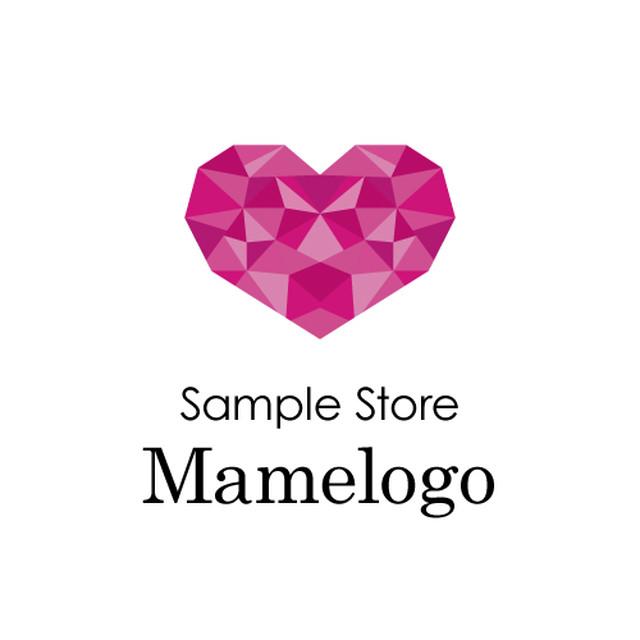 【ヘア・ネイル・エステサロン・美容院】ダイヤの様なハートが輝く!シンプルかつエレガントなピンク色のロゴ(190206_01_m)