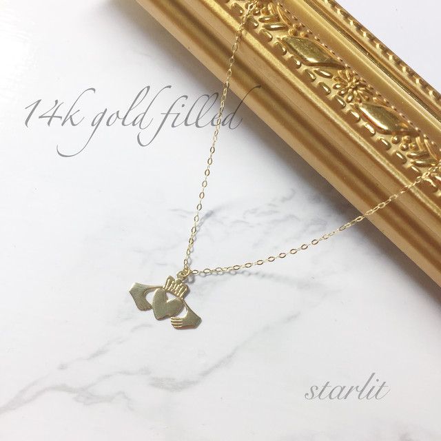 14kgf 》Claddagh Ring ❥ necklace