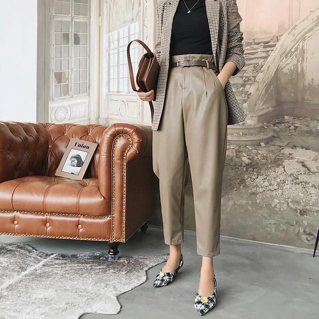 〈カフェシリーズ〉カフェに行きたくなるエコレザーパンツ【cafe eco leather pants】