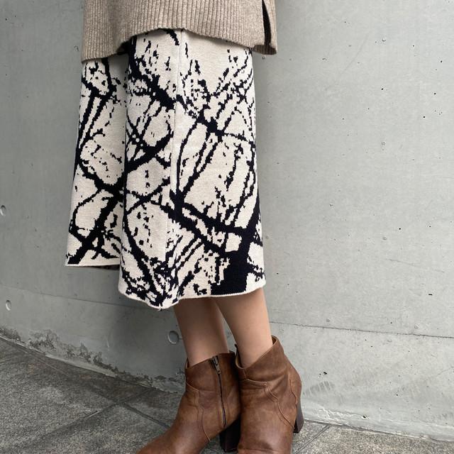 【即納】ヴィンテージ プリントニット スカート | 2色 レトロ ロングスカート