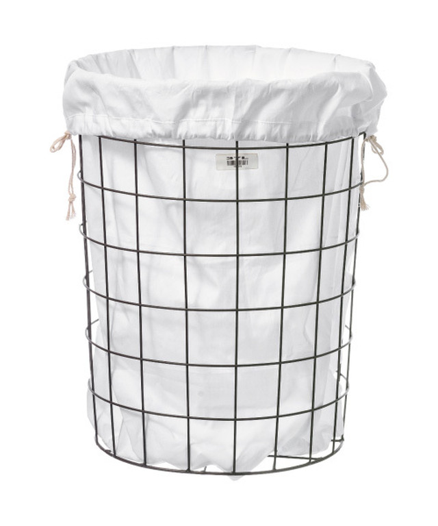 WIRE BASKET W PLAIN LAUNDRY BAG Large