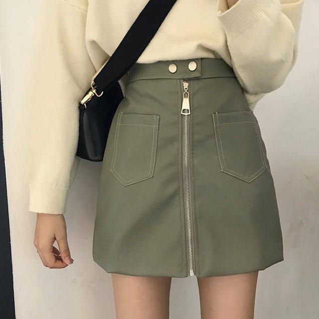 【送料無料】 甘辛MIX♡ レザー ジップアップ ミニ スカート ハイウエスト Aライン 秋冬 かっこいい