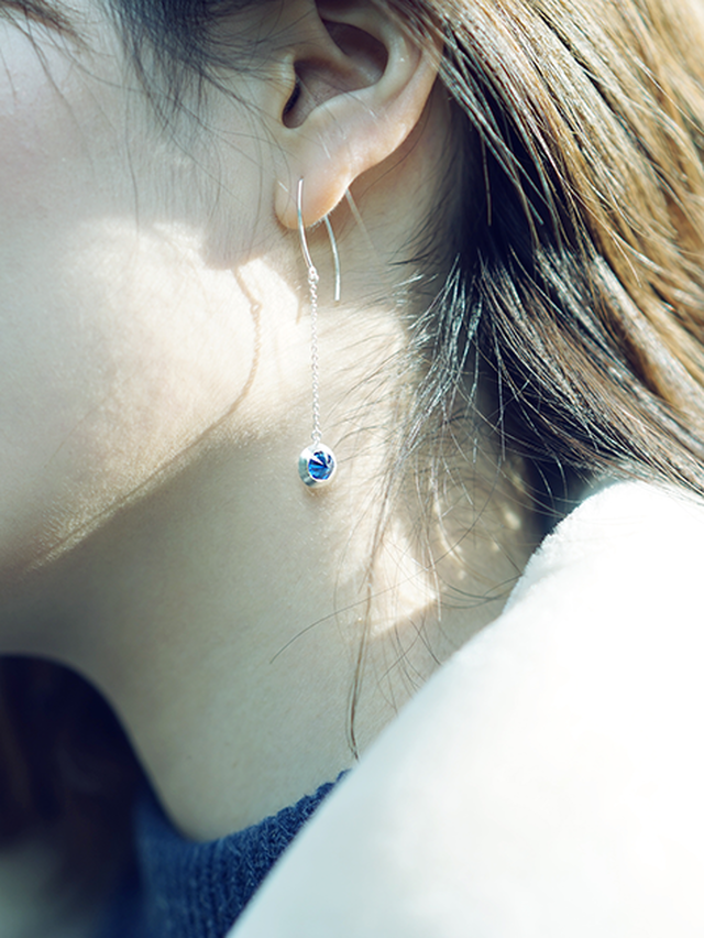 [ピアス] two color pierce / Amethyst & Sky Blue