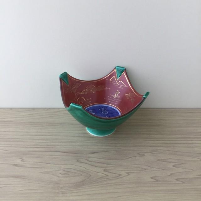 【有田焼】緑交趾内赤絵山水 小鉢