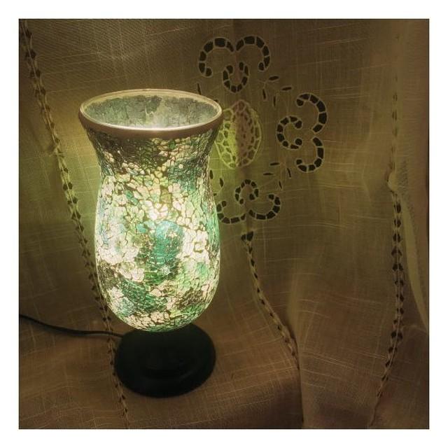 ミルグラス テーブルランプ フラワーポット/グリーン