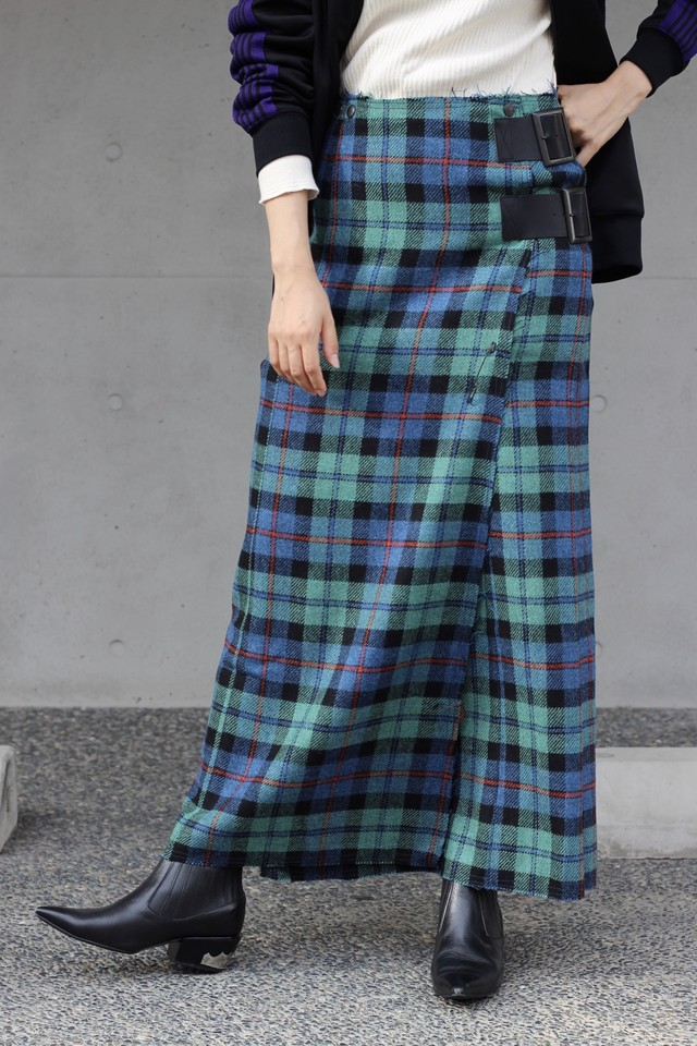 【Needles】wrap skirt wool plaid tweed-blue