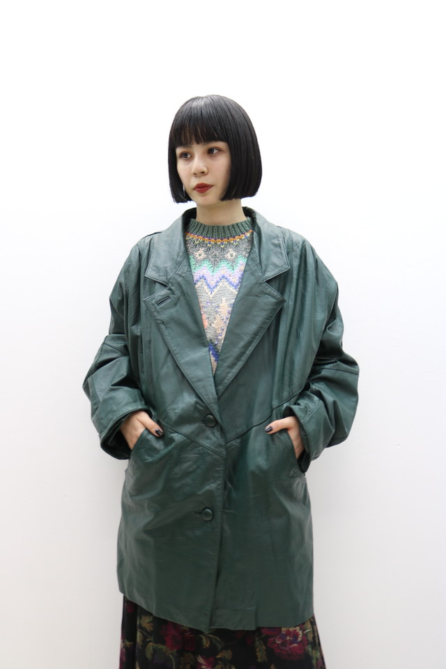 leather jacket / OU11190014