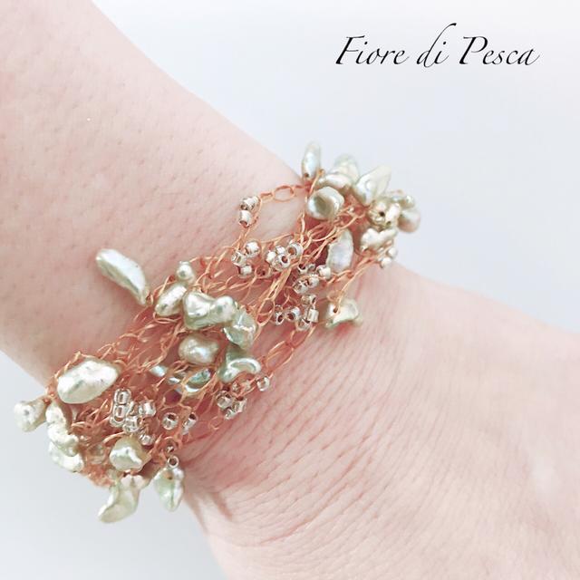 Croshet (gold x keshi pearl) Bracelet