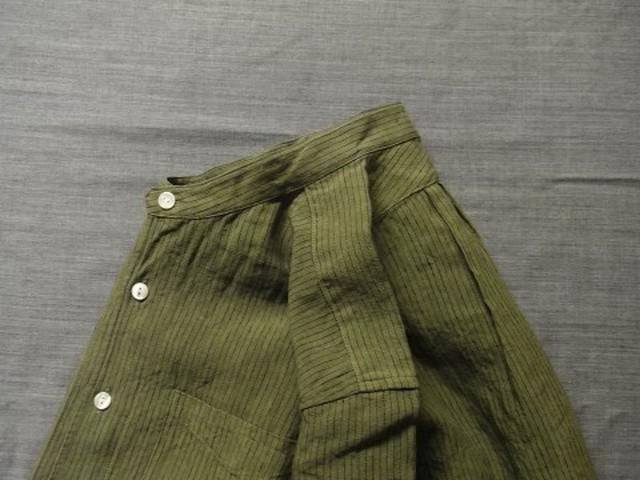 da s/c stripelinen shirt / lightkhaki x blackstripe