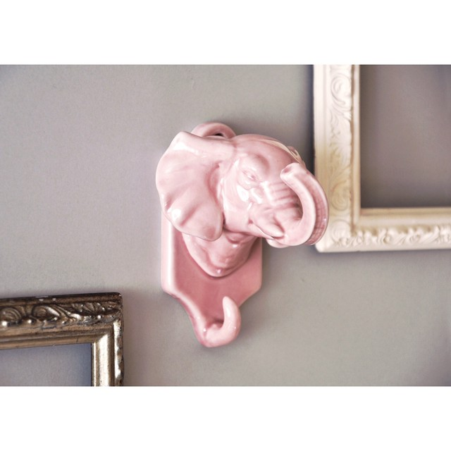 【陶器製の壁掛けフック-ゾウ-】vintage 壁掛けフック ピンク 昭和
