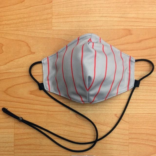 首掛け型NDeeマスク(グレーXレッドピンストライプ柄)Mサイズ★ネックデザインマスク★NeckDesignMask/ファッションマスク