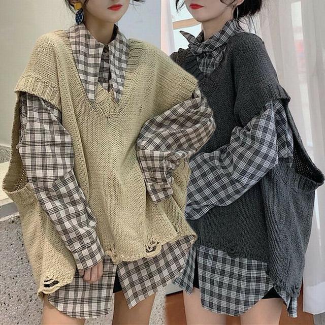 レディース セットアップ チェック柄シャツ + ダメージ加工ニットベスト ルーズ ニット 秋 冬 韓国 韓国ファッション / Knit vest long sleeve plaid shirt two piece suit (DTC-601823900318_003)