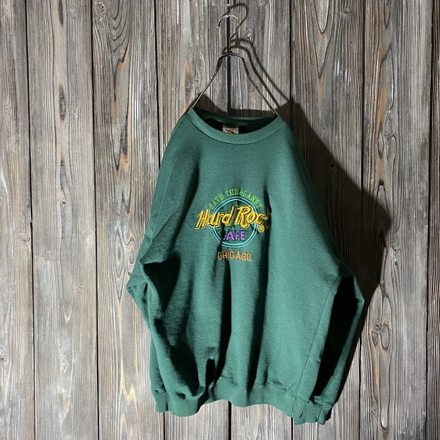 [Hard Rock Cafe]Chicago dark green sweat