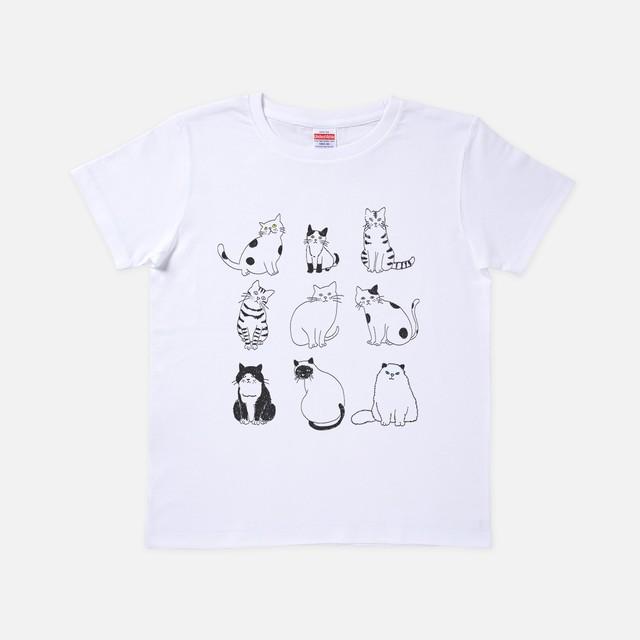 Tシャツ[URAMABUTA]9匹のねこ ホワイト色
