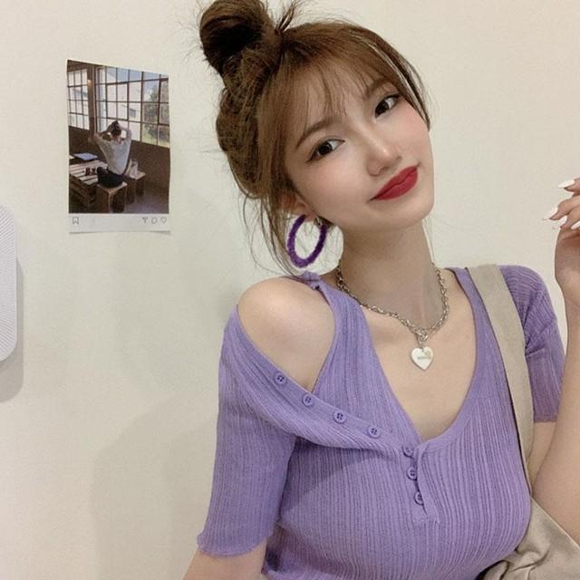 【トップス】韓国系半袖Vネックプルオーバー切り替えニットTシャツ46876193
