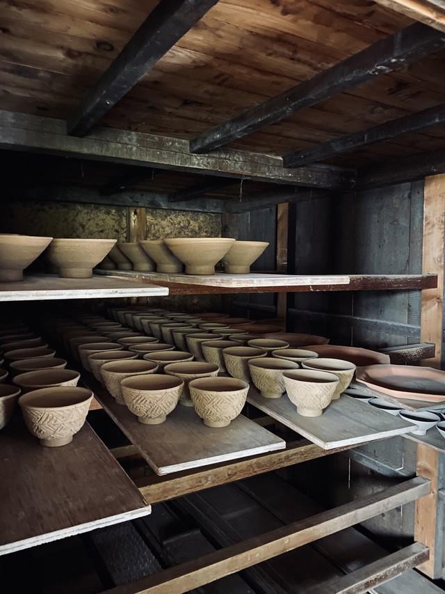 ◆受注生産◆赤麻の葉六角湯呑 三浦繁久作