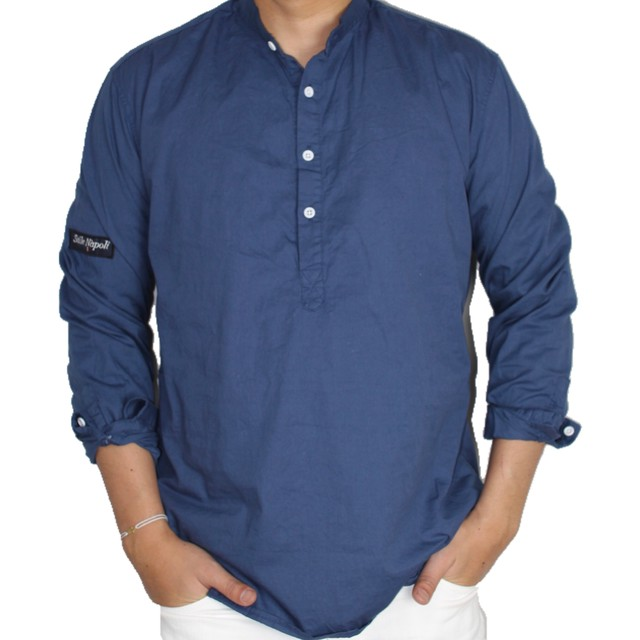 nocollar blue shirt