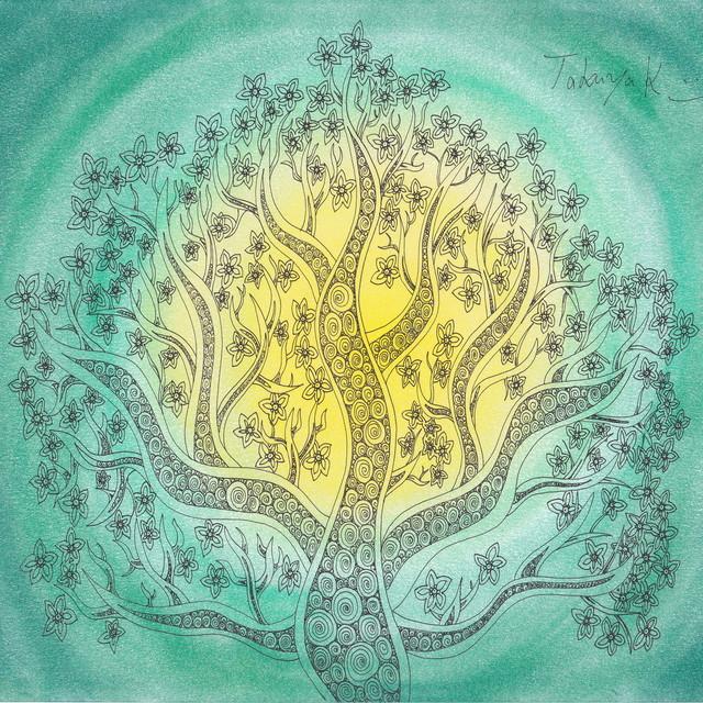 絵画 インテリア アートパネル 雑貨 壁掛け 置物 おしゃれ 植物 創作イラスト ゼンタングル パターンアート ロココロ 画家 : Takuya Kawashima 作品 : 無題