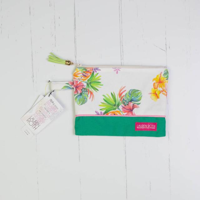 クラッチバッグライトグリーンタッセル(中)Flower Clutch