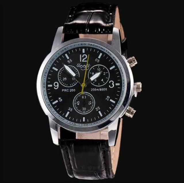 ❤人気商品❤ メンズ 腕時計 ブラック 黒 高級ブランド クォーツ時計 革ベルト 格安 スポーツウォッチ Scarecrow-32-black