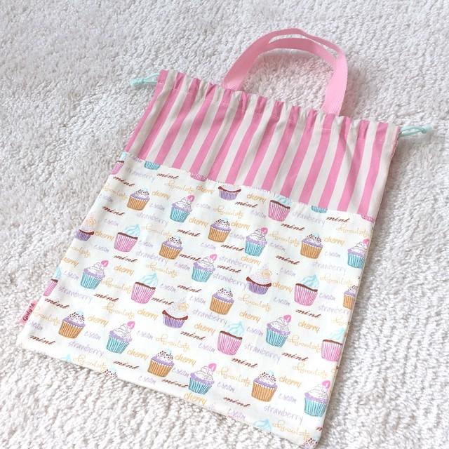 カップケーキ柄の持ち手付き体操着袋