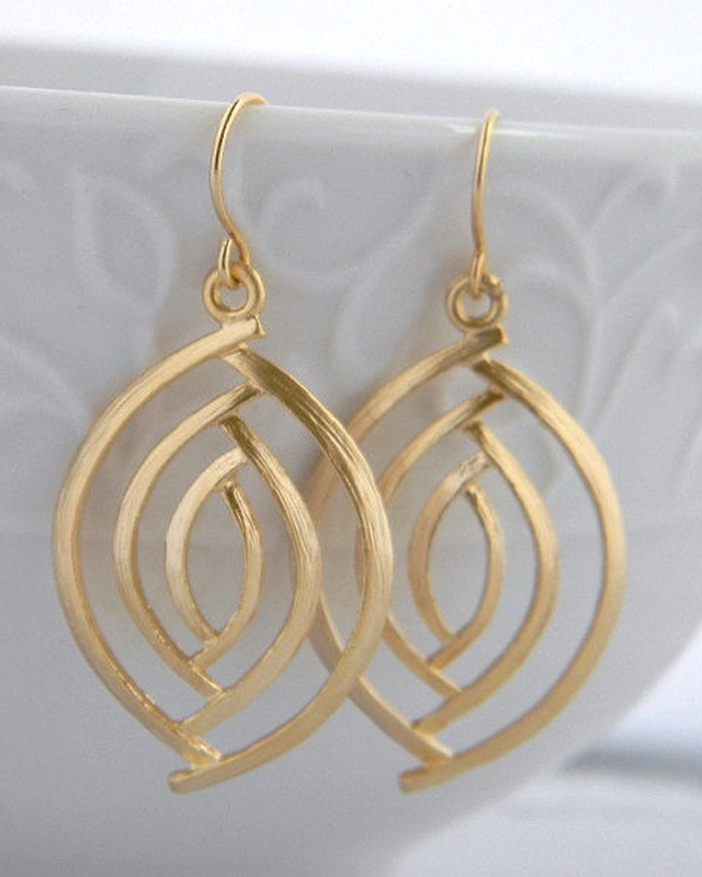 Gold Almond Pierced Earring