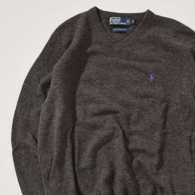【Mサイズ】POLO RALPH LAUREN ポロラルフローレン V-Neck Sweater ブイネックセーター GRY グレー M 400604191118