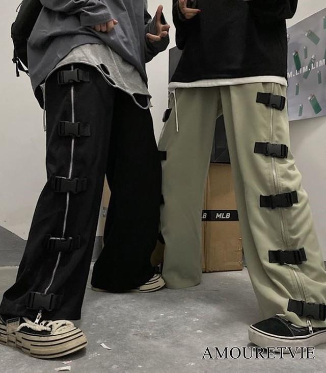 カジュアルパンツ ストリート ゆったり ワイドパンツ バックル ジッパー オルチャン 韓国ファッション 1121