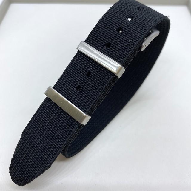 エラスティック・シングルパス ストラップ ブラック 18/19/20mm 腕時計ベルト