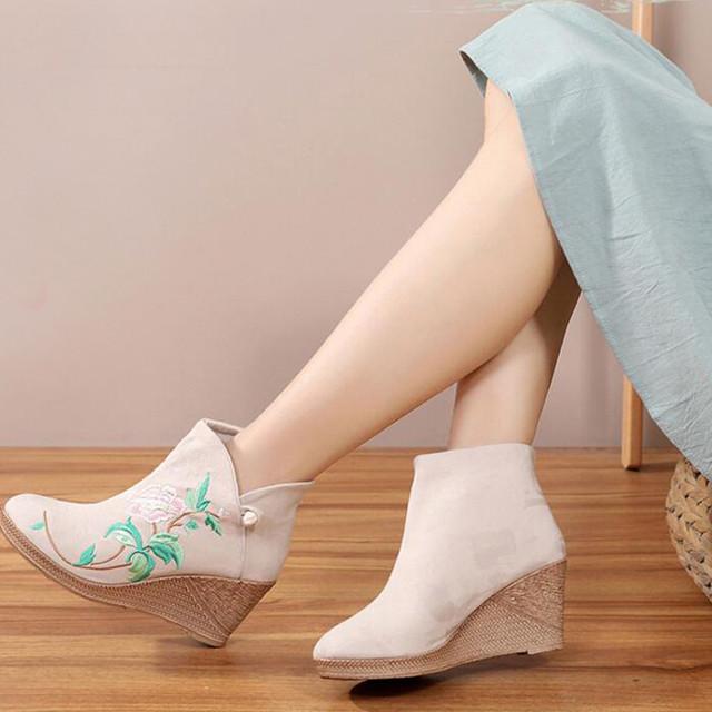 3colors 刺繍靴 手作り靴 チャイナ靴 中国風靴 中国風ボタン 唐装漢服シューズ 民族風 レトロ チャイナドレス靴 ズック ゴム 35 36 37 38 39 40 ベージュ ハイヒール7cm