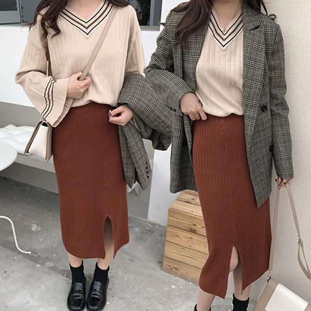 全2色 Vネックセーター&スリットニットスカート 上下セット