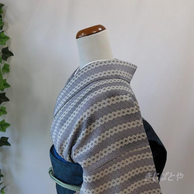 本場大島 紺藍に葉の小紋 袷