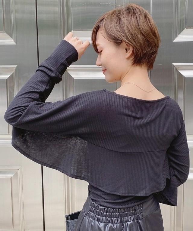 【yukichi.】Cape design ensemble tops/BLK